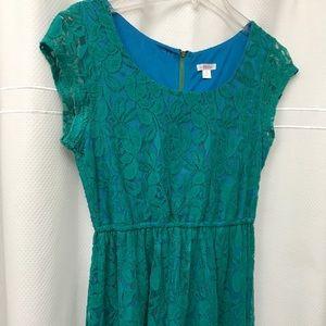Blue-green lace comfy dress